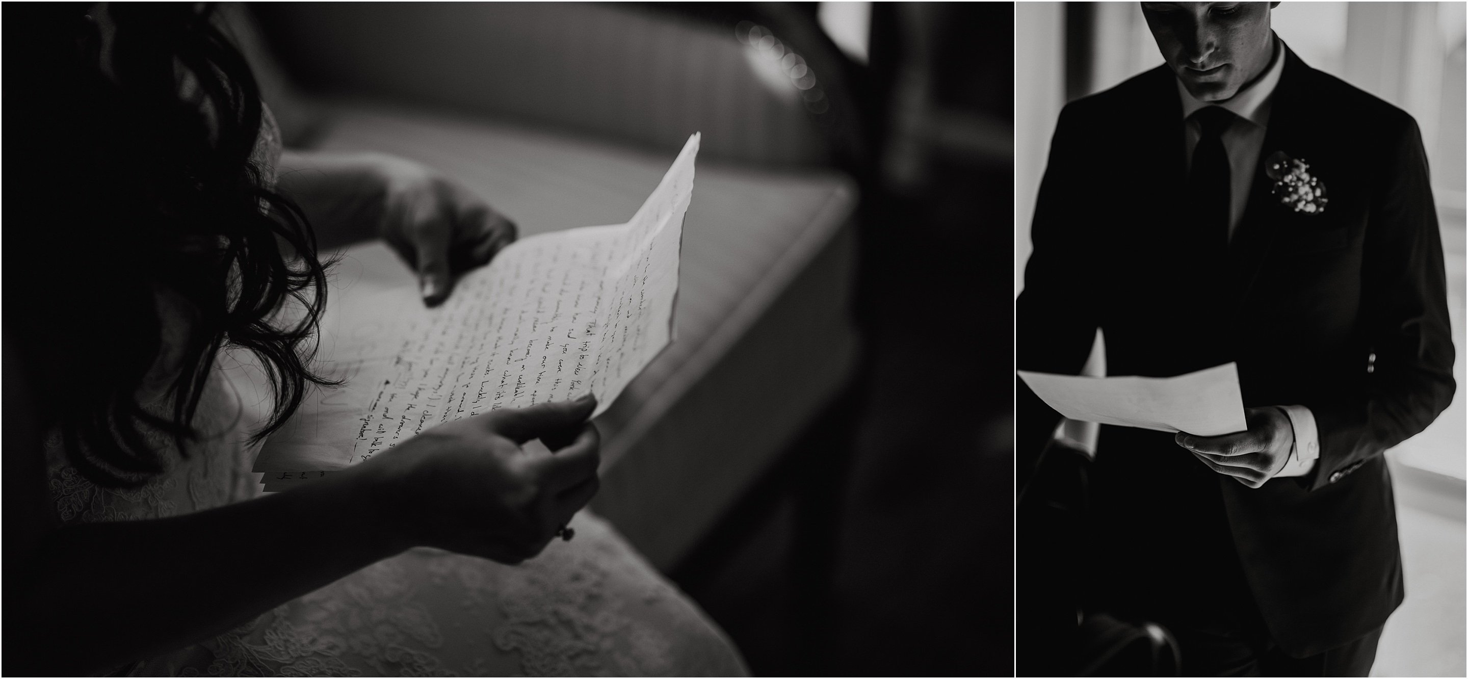 The bride and groom reading love notes they wrote to each other on their wedding day. Photo by Cindy Lottes Photography