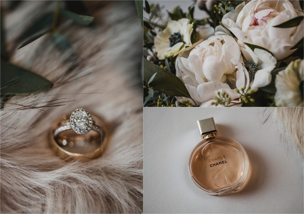 engagement ring, bouquet and chanel perfume