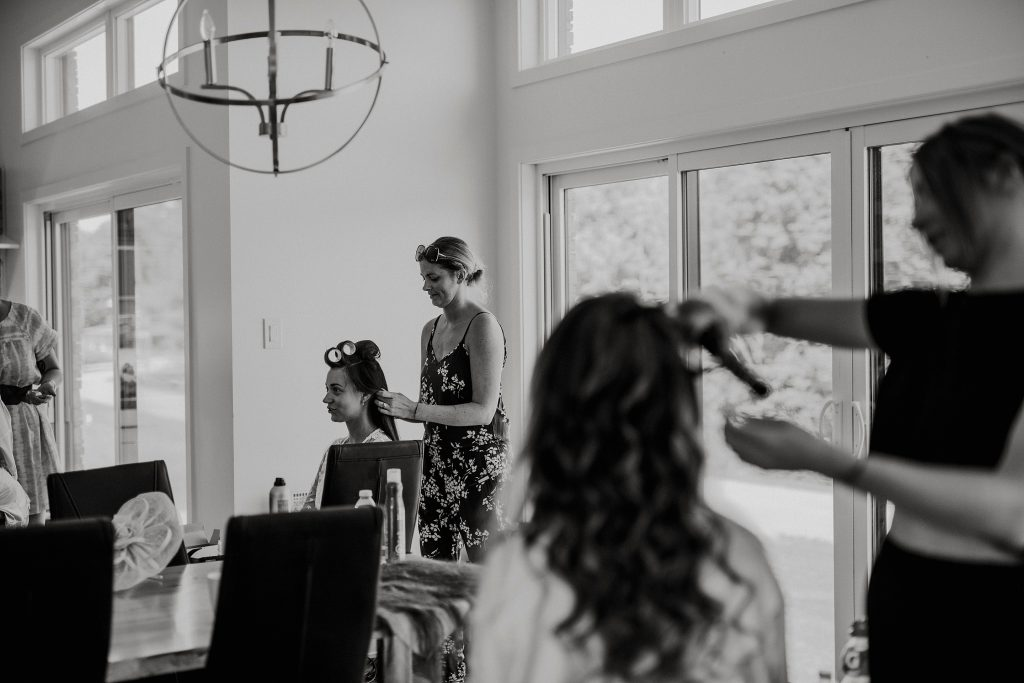 Kirsty Gauderault from Topknot working her magic at this Le Belvedere Wedding.