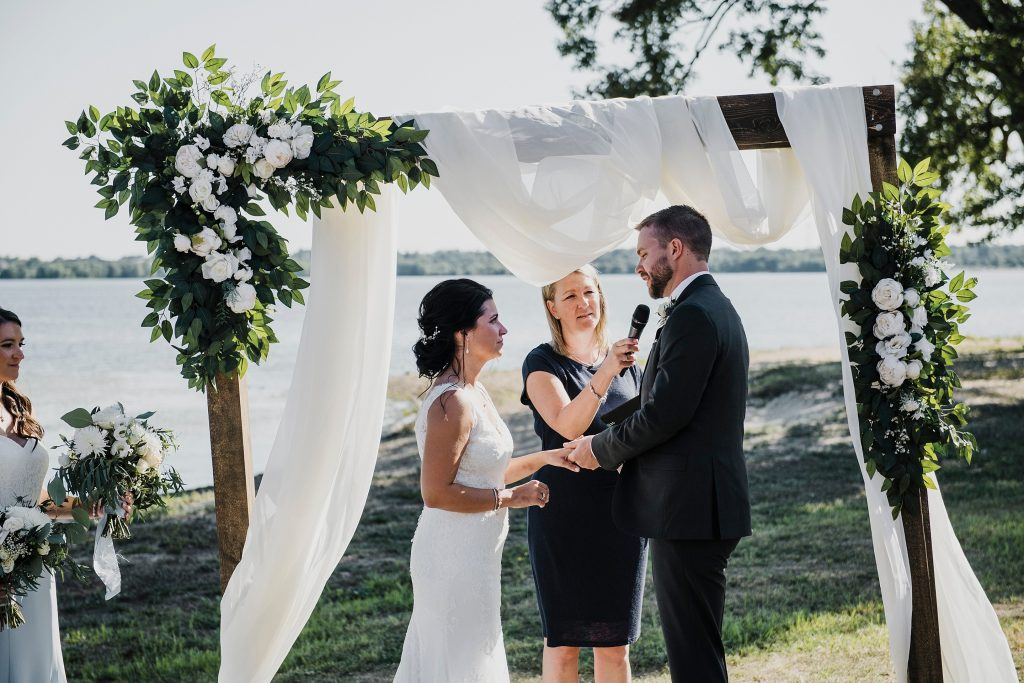Ottawa Valley Wedding - Adrienne & Liam exchanging vows along the Ottawa River