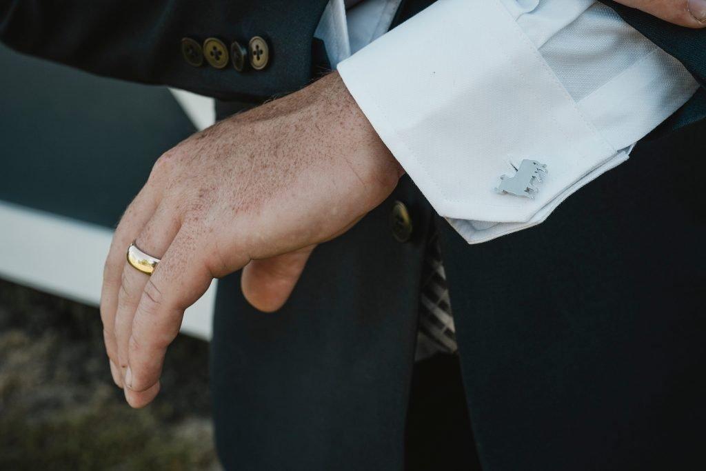 metal bull cuff links for wedding