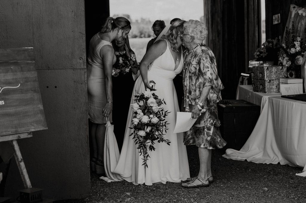 bride hugging grandma