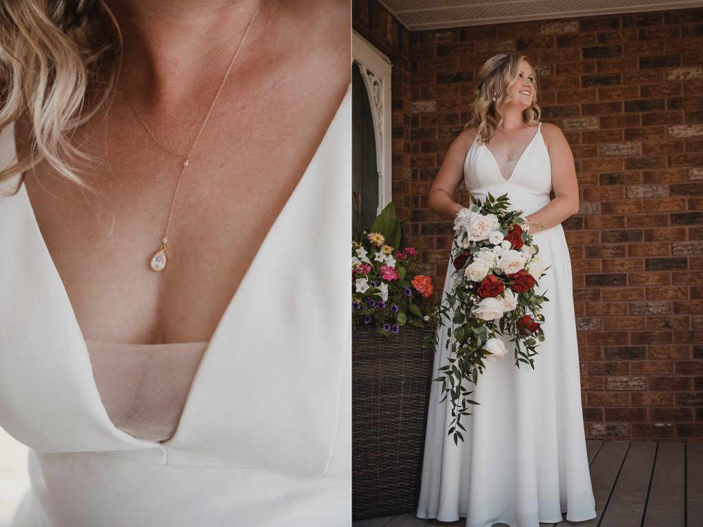 bride details, necklace and huge bouquet