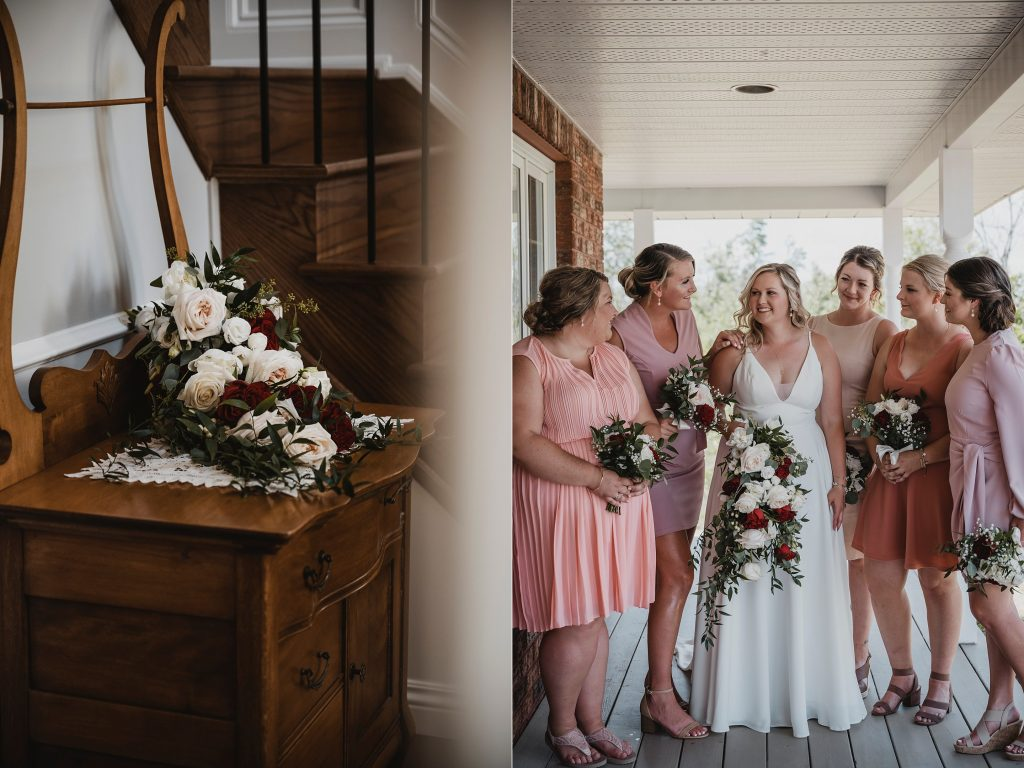bride with her bridesmaids in shades of pink dresses