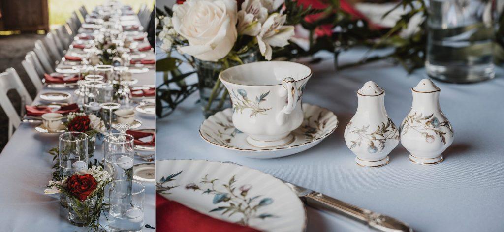 vintage dinnerware at backyard farm wedding