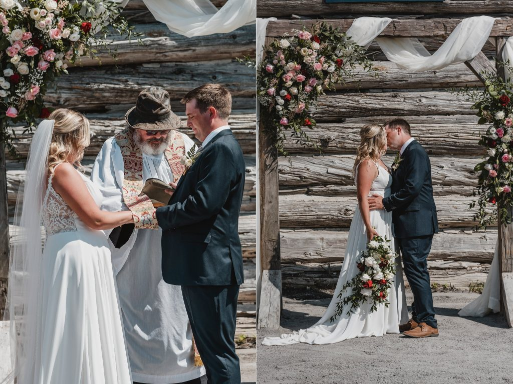 first kiss as husband and wife in front of the barn