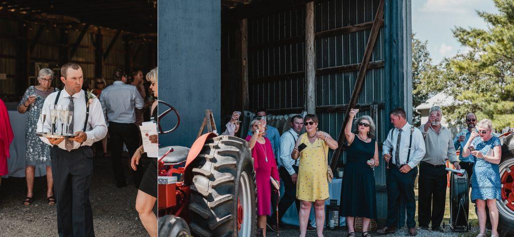 a toast to the newly married couple backyard farm wedding
