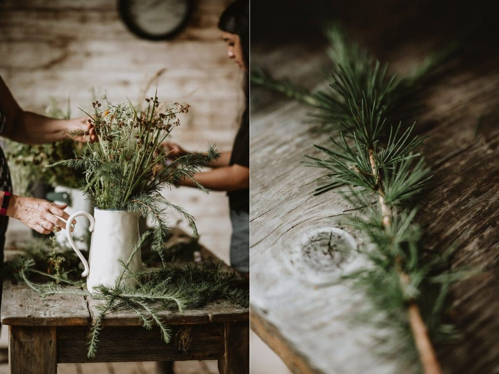 Wild Flowers used for decor at this imitate wedding in Wakefield, Quebec
