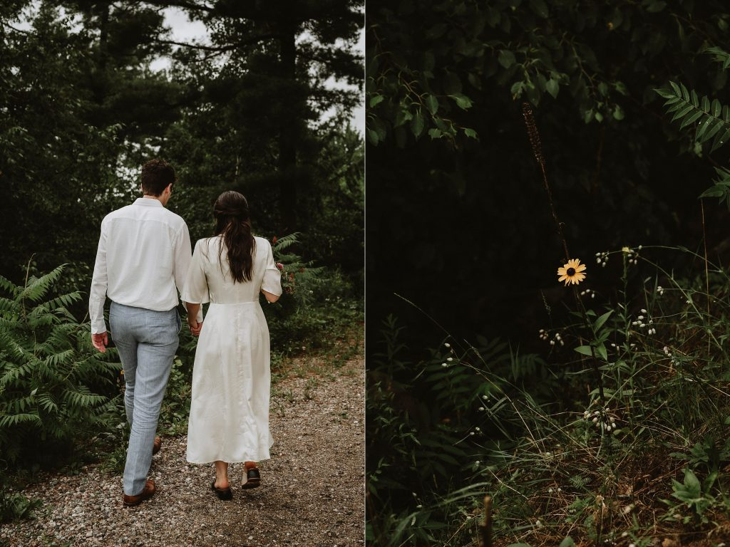 Bride and Groom walk to the forest for their wedding photos at Le Belvedere