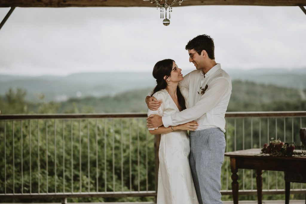 Couple embraces after their ceremony at Le Belvedere
