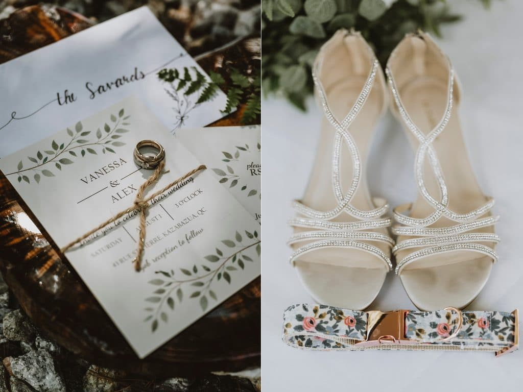 Wedding invitations and shoes and fancy dog collar
