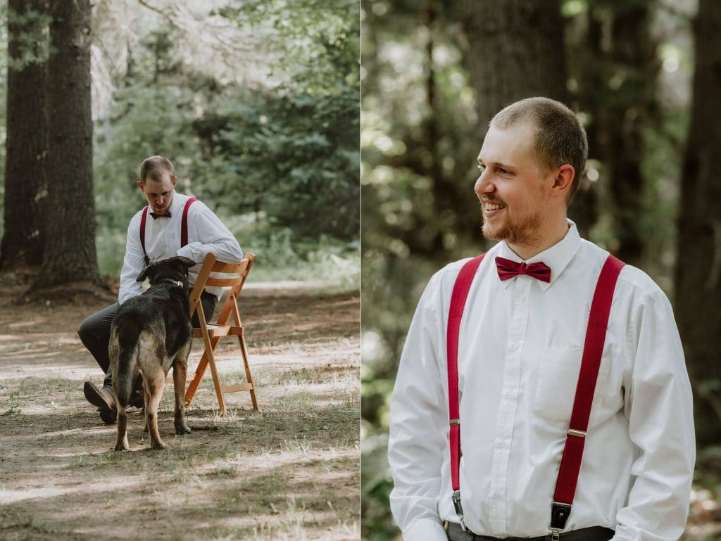 Kazabazua Wedding - groom with his dog
