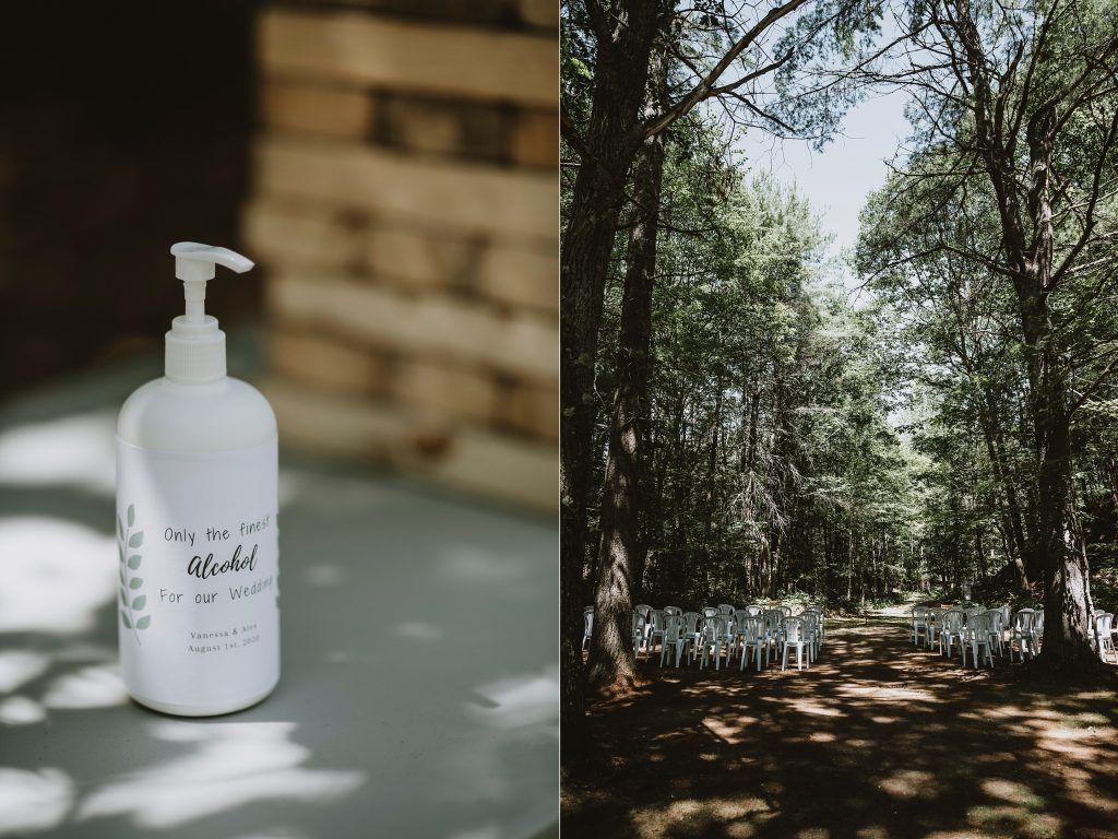 Kazabazua Wedding - hand sanitizer for wedding day