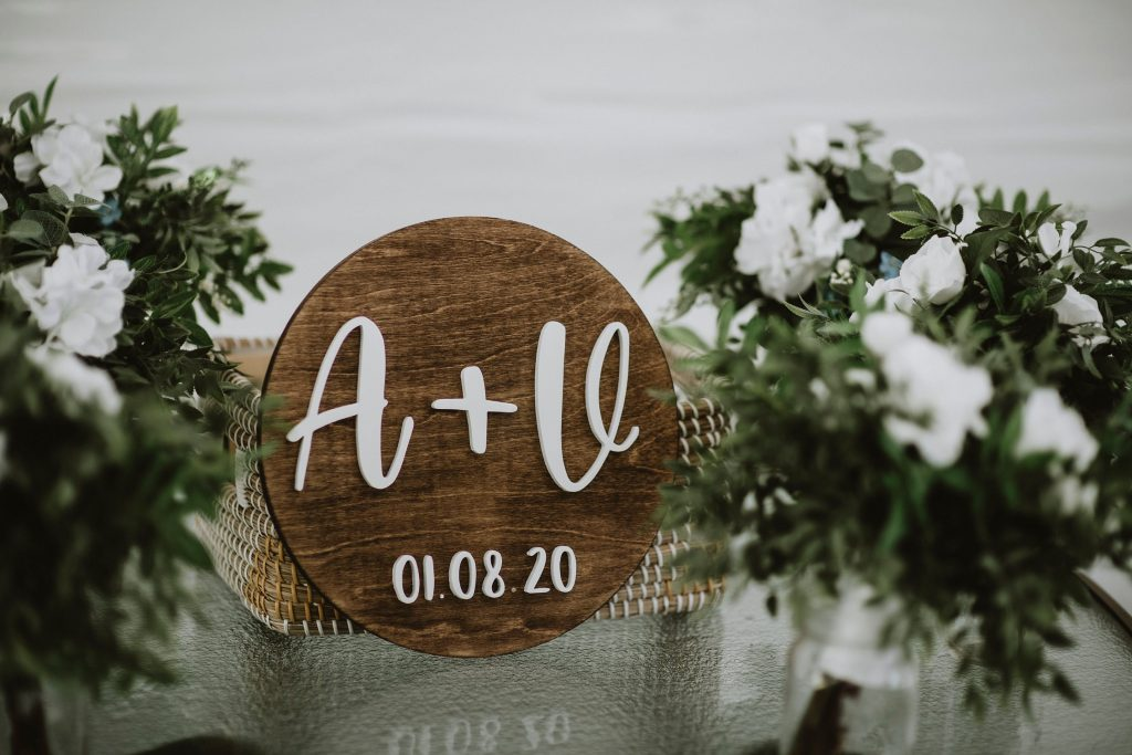 Kazabazua Wedding - custom bride and groom initials on sign