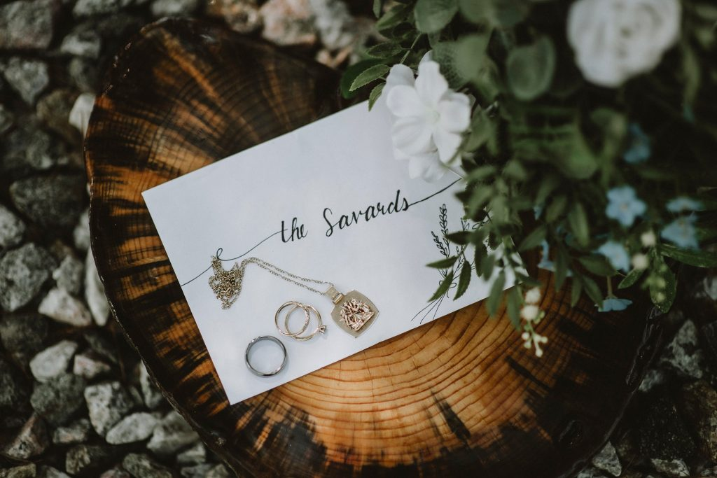 Kazabazua Wedding - hand written invitation and jewelry