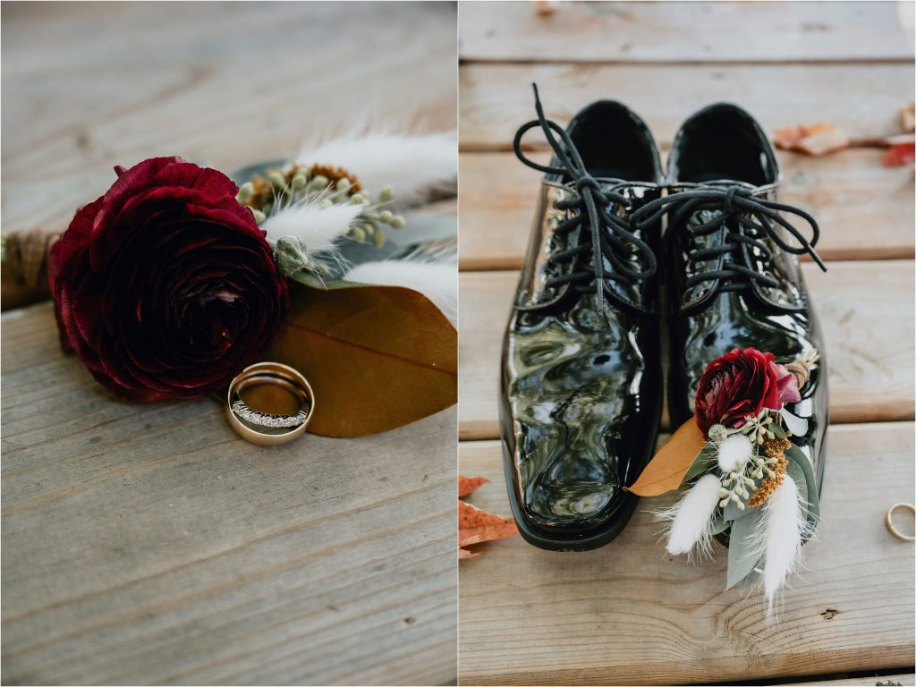 Groom's shoes and boutonniere