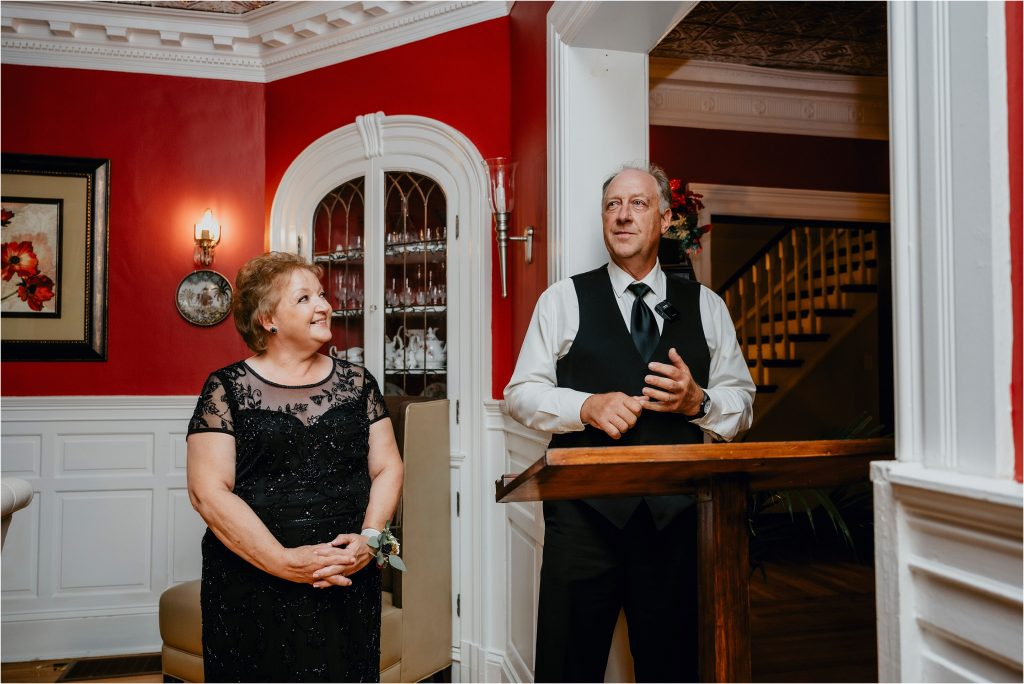 Mother and Father of the bride giving a speech at Grey Gables Inn in Pembroke
