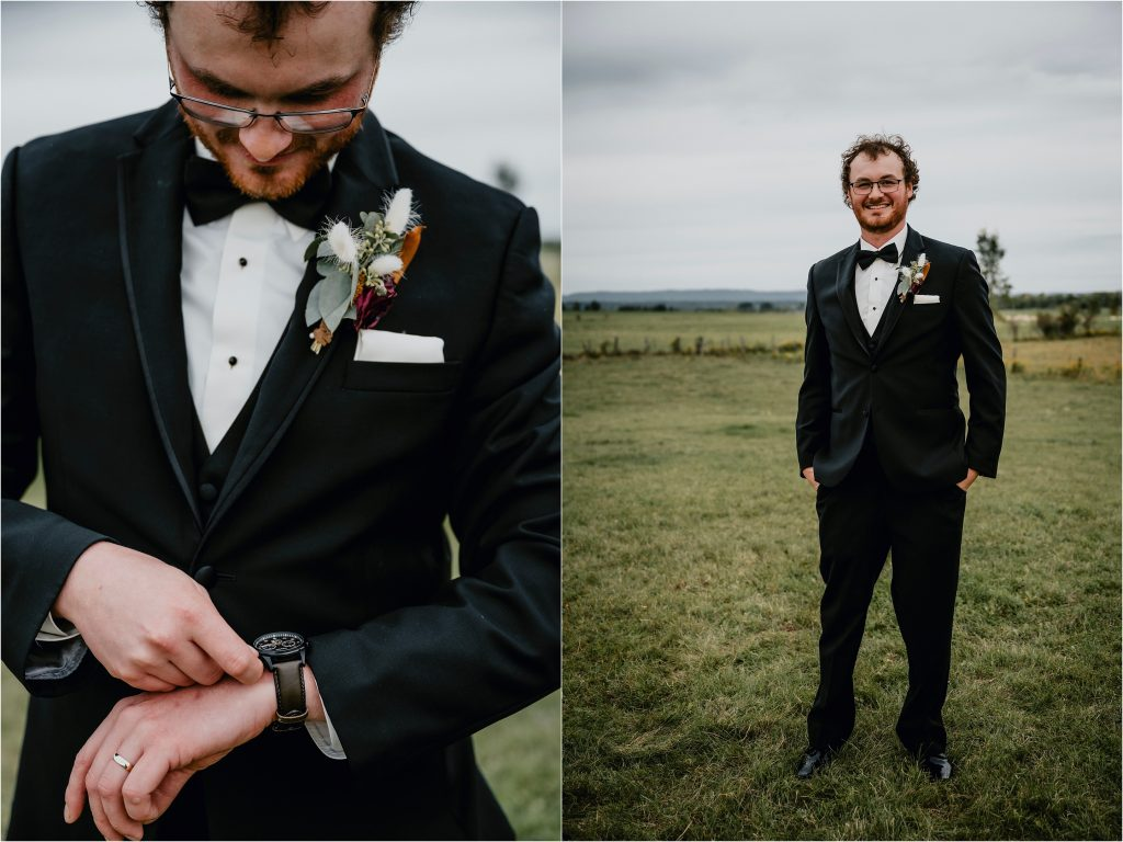 Groom checking the time on his watch