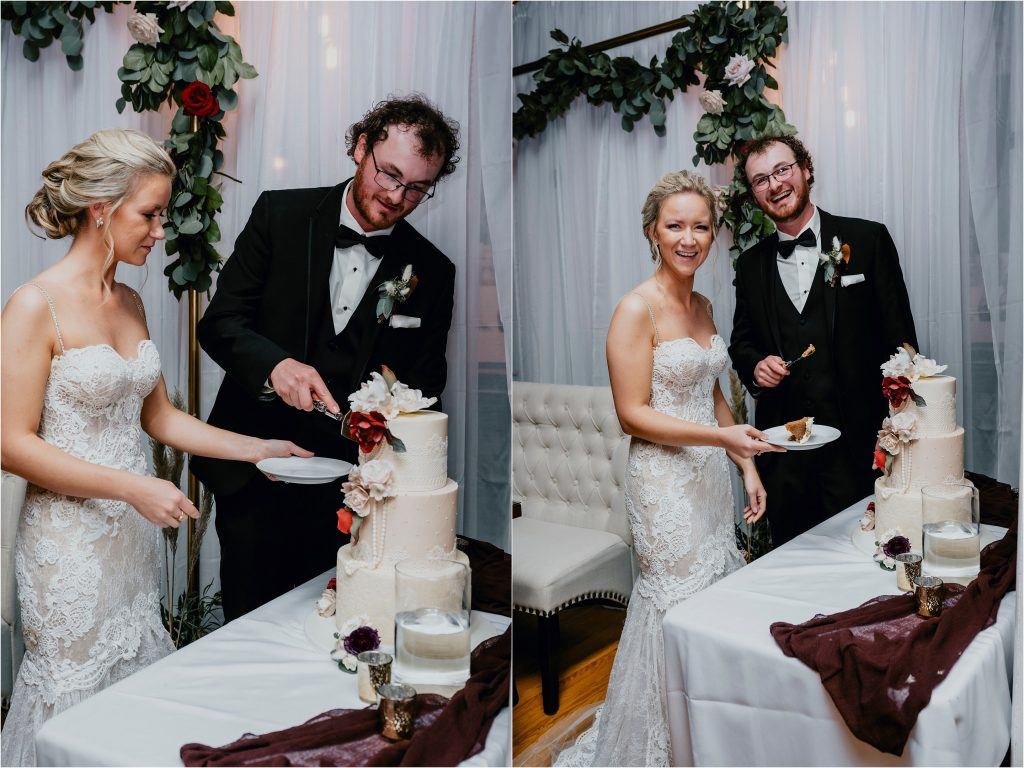 Bride and Groom cut the cake at Grey Gables Inn in Pembroke. Cake by The Girl With The Most Cake Ottawa
