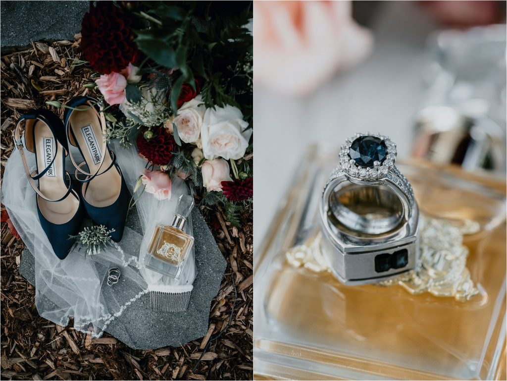 shoes, bouquet and engagement ring