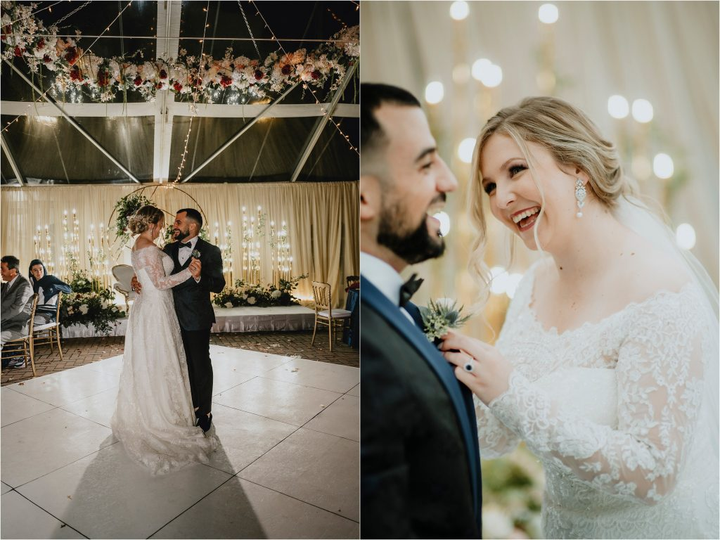 first dance for bride and groom at their orchard view wedding