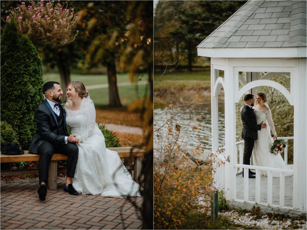 Bride and Groom laugh while sitting on a bench at Orchard View