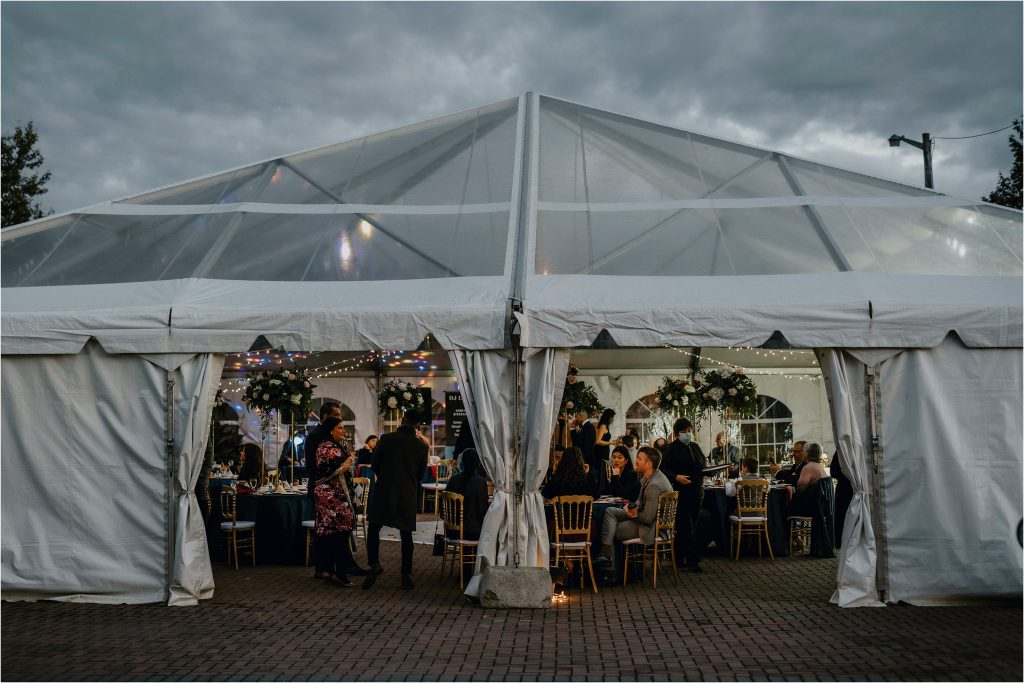a large wedding tent with a clear roof at orchard view in greely