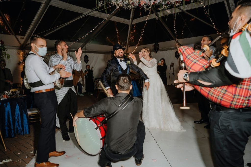 Algerian band plays while the bride and groom dance
