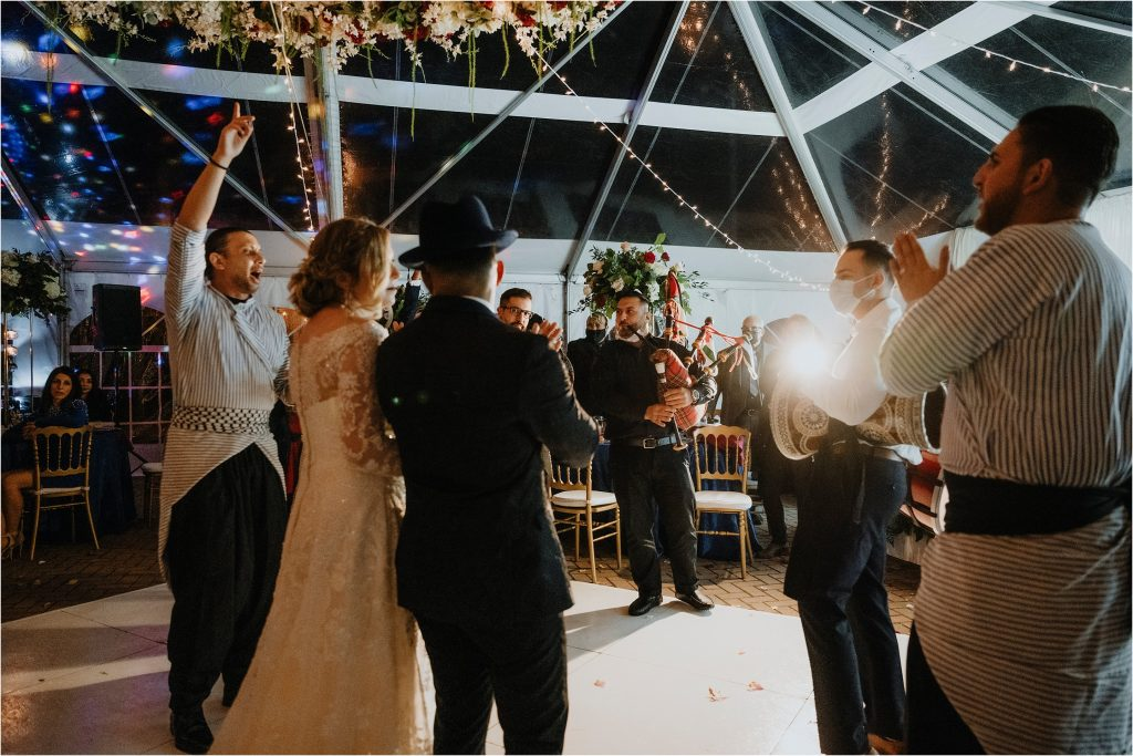 Algerian band playing music on the dance floor for the bride and groom