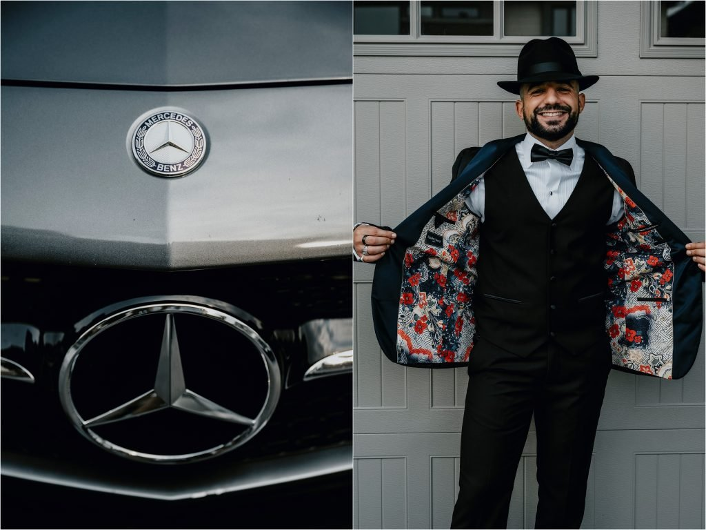 Groom shows off his bling with an awesome jacket with printed interior