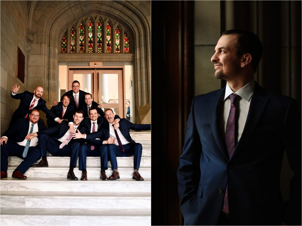 A groom and his groomsmen pose for portraits at the Museum of Nature in Ottawa.
