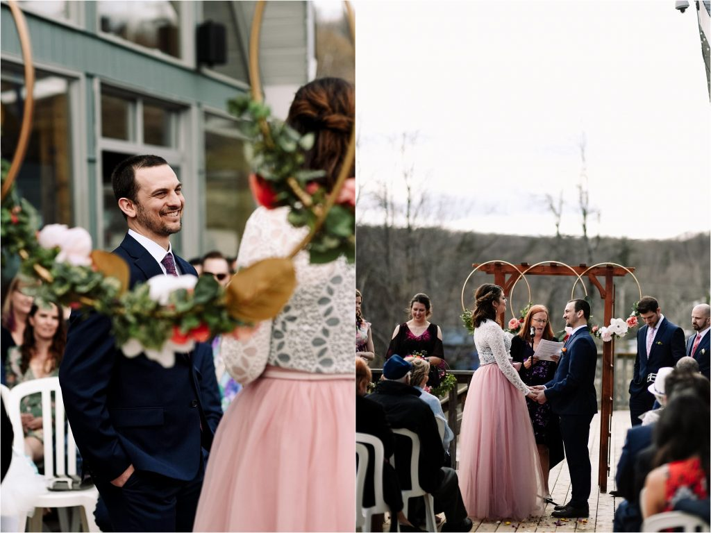 An outdoor spring wedding ceremony at Camp Fortune.